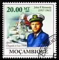 Postage stamp printed in Mozambique shows John F. Kennedy, serie, 20 MTn - Mozambican metical, circa 2009 Royalty Free Stock Photo