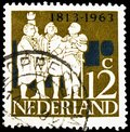 Postage stamp printed in Netherlands shows Triumvirate Van Hogendorp, Limburg Stirum & Duyn v Maasdam, Independence serie, circa Royalty Free Stock Photo