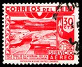 Postage stamp printed in Peru shows Dam, Ica River, Air Mail Stamps of 1949/50: Country Motives serie, 30 Peruvian centavo, circa Royalty Free Stock Photo