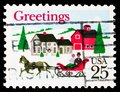 Postage stamp printed in United States shows Greetings-One-horse Open Sleigh and Village Scene, Christmas serie, circa 1988 Royalty Free Stock Photo