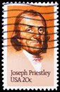 Postage stamp printed in United States shows Joseph Priestley 1733-1804, Discoverer of Oxygen, serie, circa 1983 Royalty Free Stock Photo