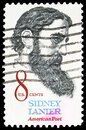 Postage stamp printed in United States shows Sidney Lanier (1842-1881), Poet, Musician, Lawyer, Educator, serie, 8 c - United Royalty Free Stock Photo