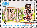 Postage stamp shows example Costa Rica culture Stock Images