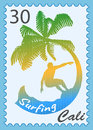 Postage stamp with surfer