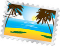 Postage stamp. Tropical beach Royalty Free Stock Photo