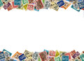 Postage stamps border from many different countries copy space Stock Photos