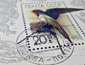 Postage stamps detail of cccp stamp depicting swallow stamp was issued to the bottom of philately Royalty Free Stock Image