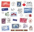 Postage stamps and labels from Canada Royalty Free Stock Photo