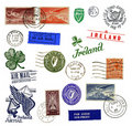 Postage stamps and labels from Ireland Stock Image
