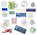 Postage stamps and labels from italy vintage showing airmail motifs national symbols Stock Photography