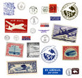 Postage stamps and labels from US Royalty Free Stock Image