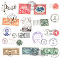 Postage stamps and labels from us mostly vintage showing airmail motifs Stock Photos