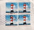 Postage stamps lighthouse from Germany Stock Photos