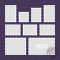 Postage stamps with perforated edge and mail stamp vector template Royalty Free Stock Photo