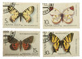 Postage stamps of the USSR, with the image of butterflies isolat Royalty Free Stock Photo