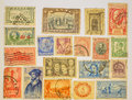 Postage stamps worldwide old from the entire planet Stock Images