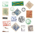 Postage vintage stamps and labels from brazil showing airmail motifs national symbols Stock Photography