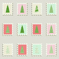 Postal stamps set fir-trees. Royalty Free Stock Photo