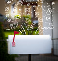 Postbox with white hand drawn mail icons mailbox Stock Photography