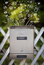 Postbox with white hand drawn mail icons mailbox Royalty Free Stock Photos