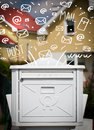 Postbox with white hand drawn mail icons mailbox Royalty Free Stock Photography