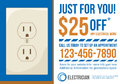 Postcard advertisement template for electrician co contractor with coupon discount Stock Photos