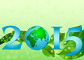 Postcard on April 22 - Earth day. 2015 with globe and leaves Royalty Free Stock Photo