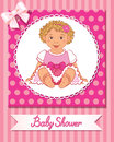 Postcard of baby shower with cute nice girl on pink background Royalty Free Stock Photo