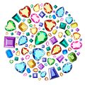 A set of precious stones of different colors and different cut. Diamonds in a circle.