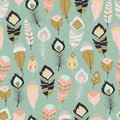 Seamless pattern with boho vintage tribal ethnic colorful vibrant feathers Royalty Free Stock Photo