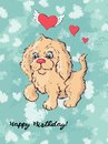 Postcard dog, hearts and letter. Valentine s day Vector illustration.