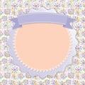 Postcard Lilac snowflakes, colorful circles, vintage ribbon. vec
