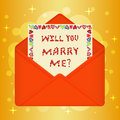 Postcard with message will You marry me