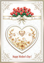 Postcard for Mother`s Day with a heart and flowers