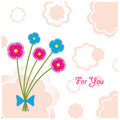 Postcard Plasticine flowers, vector illustration Stock Photography