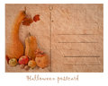 Postcard with pumpkin in retro style for halloween Royalty Free Stock Photo