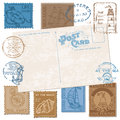 Postcard with Retro SEA Stamps Royalty Free Stock Photography