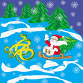 Postcard Santa Klaus on sled with snake Stock Photography