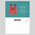 Postcard with Scottish traditional skirt kilt vector illustration