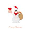 Postcard snowman with bag and gifts merry christmas Royalty Free Stock Photo