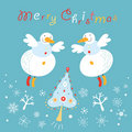 Postcard snowmen angels Stock Images