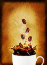 Postcard splash coffee coffee beans Royalty Free Stock Images