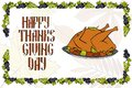 Postcard with turkey for a happy Thanksgiving