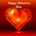Postcard on valentine s day with the heart of a precious stone illustration Stock Image