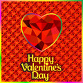 Postcard on valentine s day with the heart of a precious stone illustration Royalty Free Stock Photos