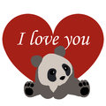 Postcard Valentine`s day. red heart and Panda. with the words I