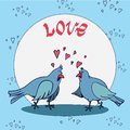 stock image of  Postcard with Valentine`s Day - two lovers dove