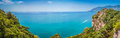 Postcard view of amalfi coast campania italy scenic picture to panorama famous with beautiful gulf salerno Stock Photography