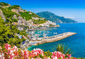 Postcard view of famous Amalfi Coast, Campania, Italy Royalty Free Stock Photo