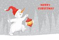 The postcard, which shows a running Christmas snowman with a flashlight.